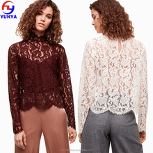 2017 Top selling product fashion women lace blouse with long sleeve