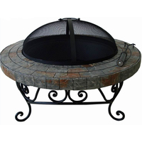 32inch Mosaic Slate Round Assembly Fire Pit Table/Fire Bowl with Steel bowl ,Spark Guard,Poker and Table cover
