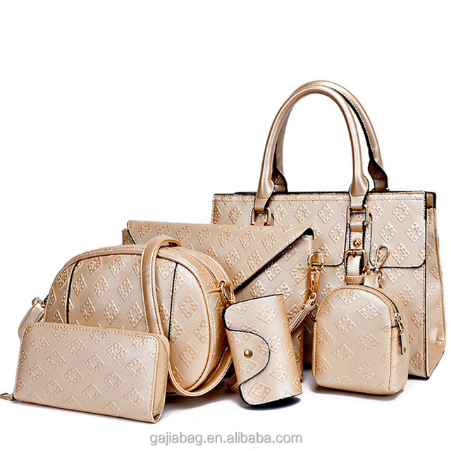 2017 Latest design Alibaba hot sale luxury fashion ladies bags 6pcs women handbags set with wholesale price