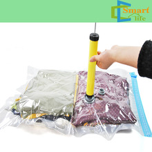 Home decor manufacturers plastic compressed vaccum bag with pump for clothes bedding