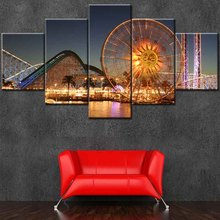 5 panel night city scenery canvas prints for office/home decor
