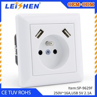 China supplier new technology France type 5v 2.1a 2 ports multiple usb wall charger outlet with CE ROHS TUV