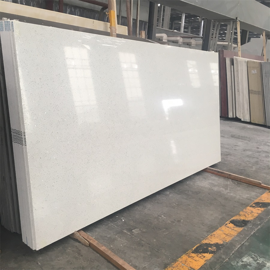 6-6.5 Moh's Hardness Solid Statuary White Quartz Slabs