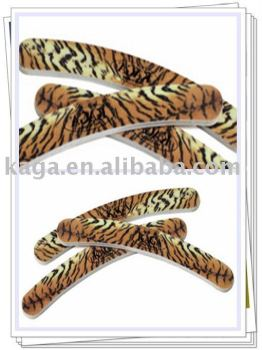 KAGA Leopard Durable Curved Nail File for Nail Art