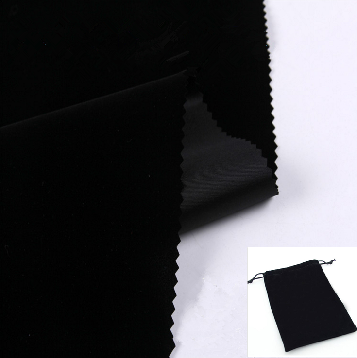 high textile durable nylon flock velour black velvet upholstery fabric for jewelry display
