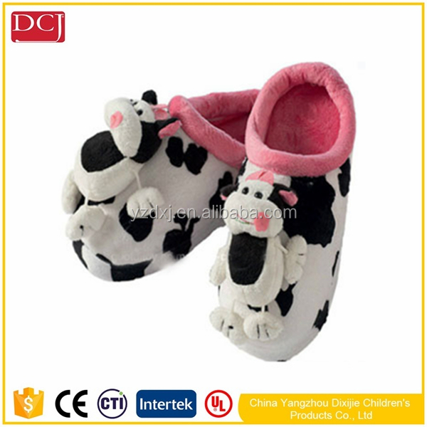 Wholesale Cute Cow Shape Indoor Winter Warm Plush House Slipper