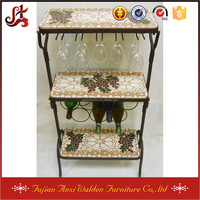 3-Tier Under Cabinet Wine Glass Stemware Rack Holder with Mosaic Top