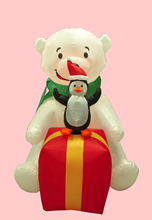 180cm/6ft polyester inflatable Christmas penguin standing on giftbox and polar bear decoration