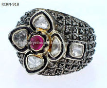 New Trend Elegant Ruby Ring 925 Sterling Silver Uncut Diamond Ring Wholesale Handmade Jewelry