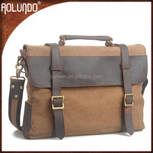 Hot Selling Vintage Canvas Leather Shoulder Briefcase Messenger Bag