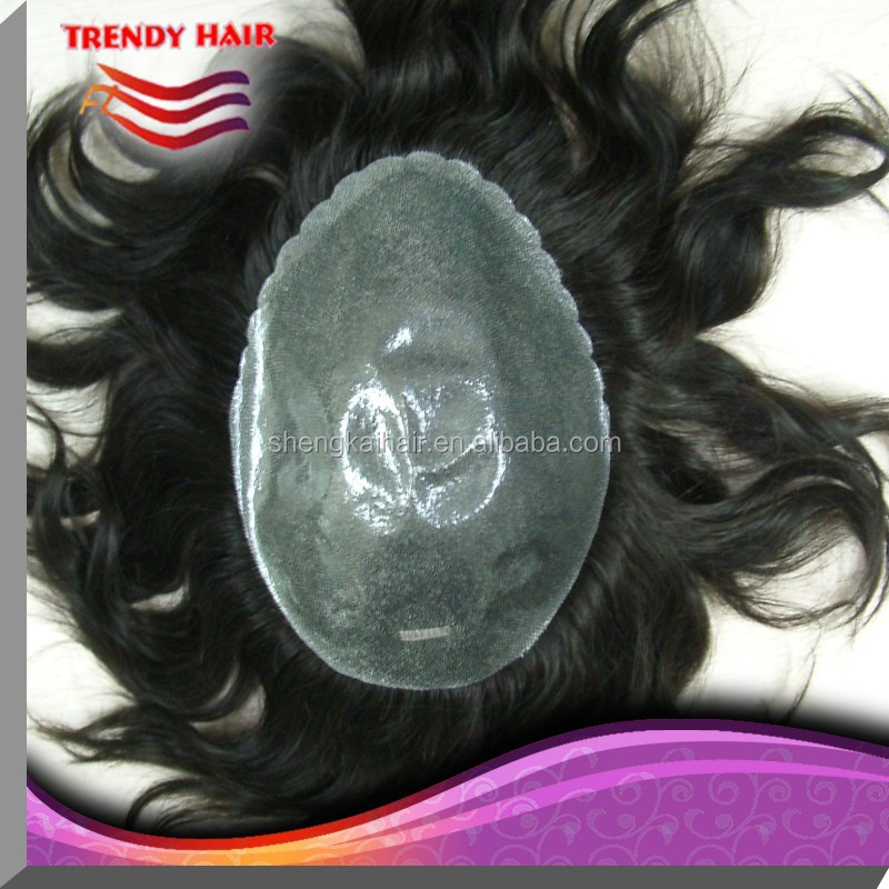 Quality human hair men toupee