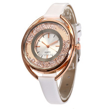 thin band watch with crystal inside watch face small double dial quartz watch
