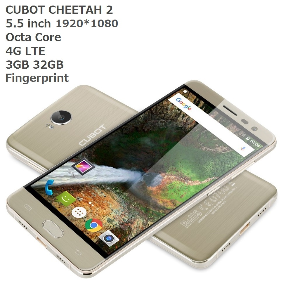 Cubot Cheetah 2 Android 6.0 Smartphone unlock 4G FDD LTE MT6753 Octa Core 3GB RAM 32GB ROM 5.5 Inch Finger print ID Mobile Phone