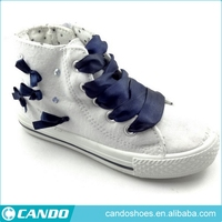 white canvas shoes with bowknot high cut blue and white shoes for girls