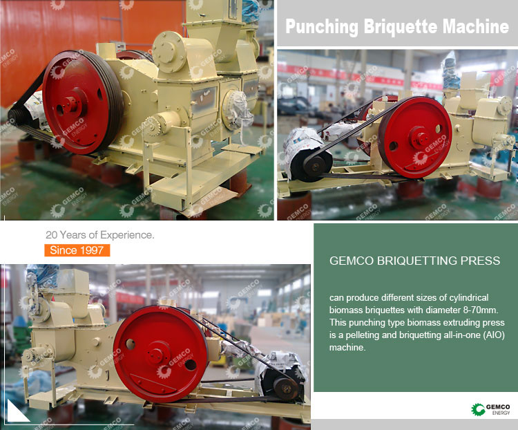 GEMCO promotion price multipurpose briquetting uses manure paper straw husk sawdust wood biomass briquette machine