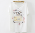 Wholesale China ladies batwing sleeve fancy flower design girl summer print fashion t shirt for women