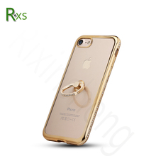 OEM Shockproof Mobile Accessories Fashion Phone Cases Design Crystal TPU Electroplating Case with Ring Holder