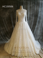 New arrival product wholesale Beautiful Fashion long sleeve lace modest wedding gown