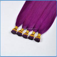 Buying tip hair online using Trade Assurance safe payment method elegant purple color for i tip keratin hair