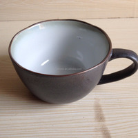 12oz cheap and top quality stoneware bulk ceramic soup mug with handle from China manufacturer