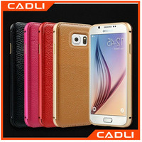 2 in 1 Luxury Metal PU Leather Cover Ultra Thin Aluminum Bumper Phone Cases For Samsung Galaxy S6