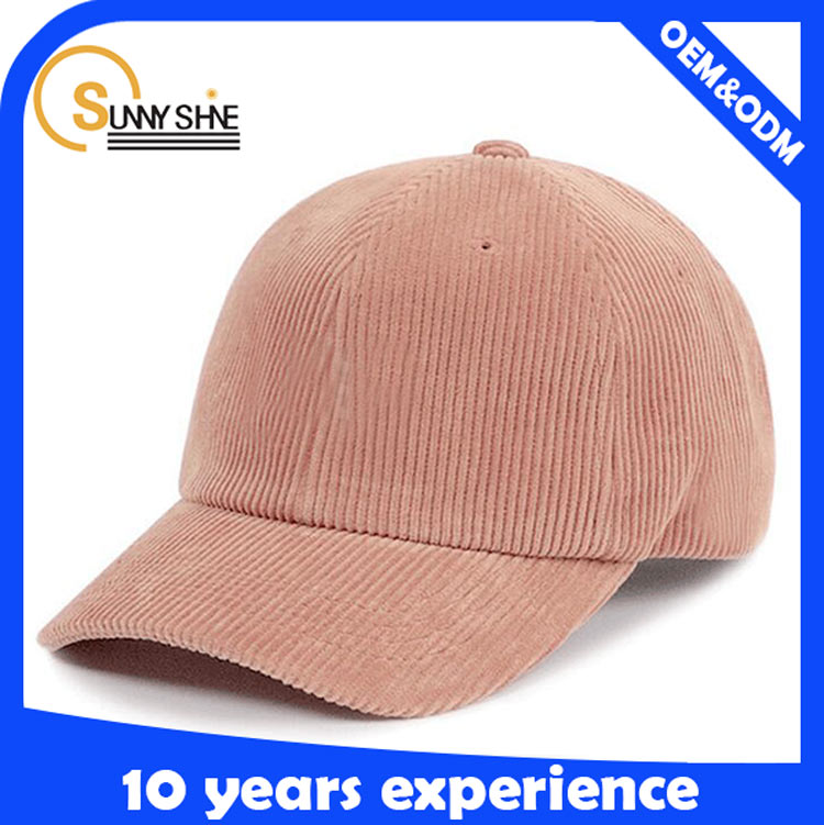 High quality corduroy 6 panel promotional plain distressed flexfit baseball cap