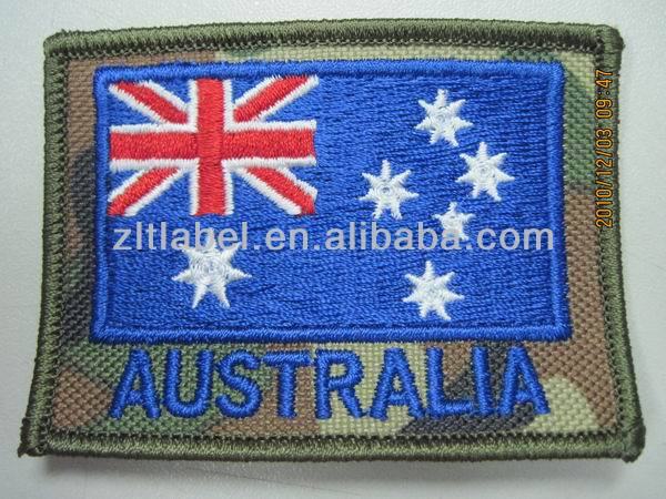 Australia fag woven label patch for clothing/woven label/embroidery patch made in china