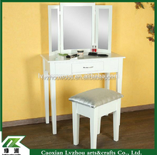 French style bedroom furniture wooden dressing table with mirror and stool