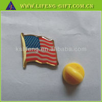 Die struck enamel USA flag pin in stock, gold-plated usa flag lapel pins