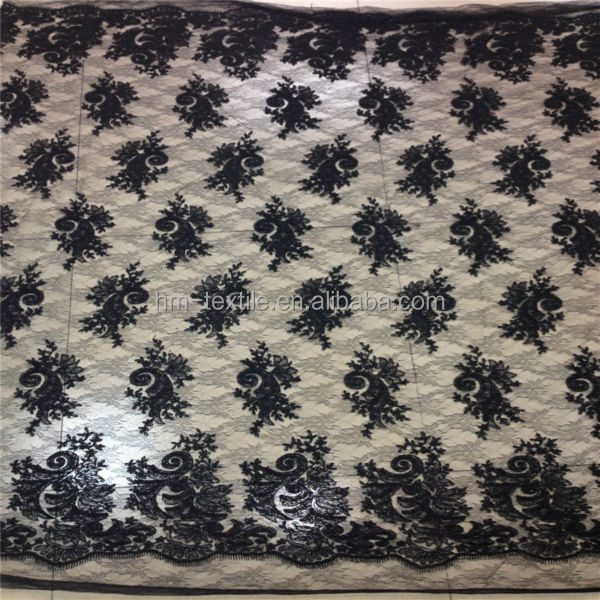 Black eyelash embroidery mesh lace fabric bridal corded lace