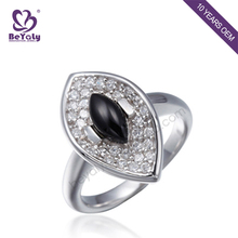 Customized wholesale silver couple platinum rings with black gemstone