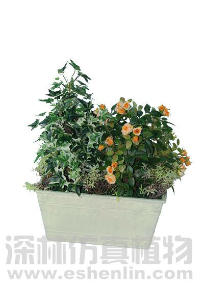 artificial rose&Ivy potted landscape;artificial flower;bonsai plant