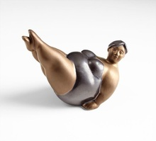 Polyresin tabletop resin action figure funny fat woman yoga figurines