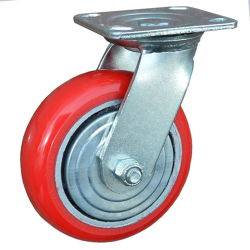 "5"" heavy-duty polyurethane fixed 125mm PU rigid caster and camber wheels"