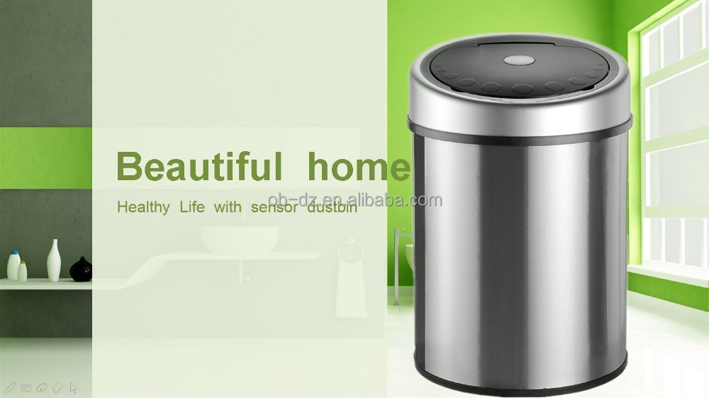 Stainless steel leather room waste bin soft close office dustbin