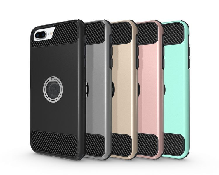 Hongwang case OEM ODM Mobile Accessories hard 360 rotation finger metal ring mobile cell phone case for iphone 7 plus cover