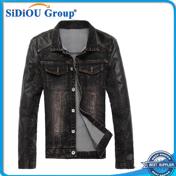 mens black denim jacket leather sleeves india