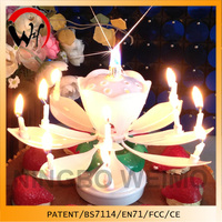 Amazing birthday musical candle white lotus candle wholesale party candle