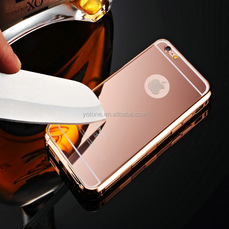 "New Ultra Thin Luxury Aluminum Metal Mirror Case Cover Engraving Phone Case For Iphone 4.7"" 5.5"" With Scratch proof"