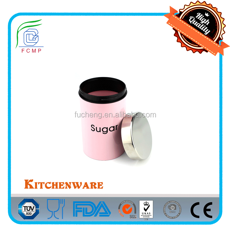 S/S lid Colorful colorful kitchen canister set in shining pink powder coating