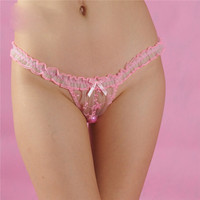 Pink Lace Lingerie Small Bowknot Thong Super Sexy Underwear See Through Underpants Boxer briefs