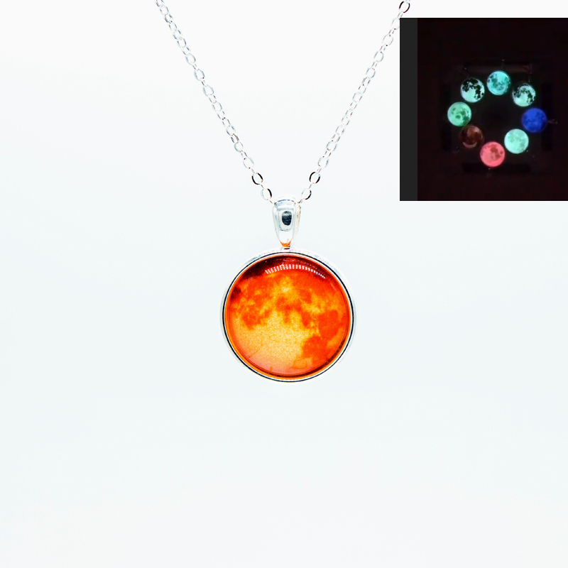 NL126 JN wholesale glow in the dark moon crescent moon necklace charm pendant