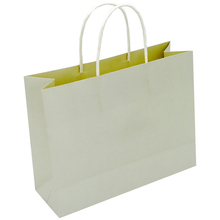 100% recycled personalized logo printed biodegradable shopping brown white kraft paper bag with handles