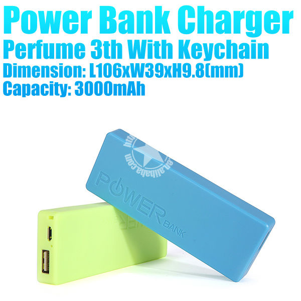 3000mAh Handy Slim Polymer Power Bank Phone Charger for Mobile Phone With Keyring With Perfume