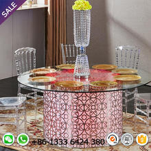 tempered glass top round dining table with stainless steel acrylic LED for wedding event dinner