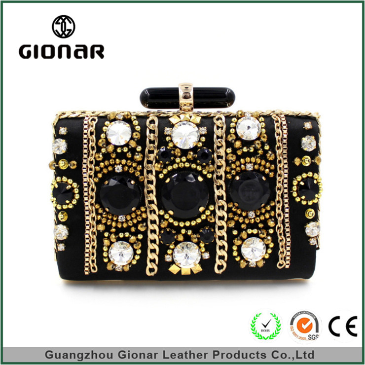 OEM Fashion Brand Lady Wedding Party Box Clutches Bag Crystal Stone Evening Clutch Bags