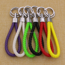Hot sale fashion costom colorful braided rope keychain leather keychain