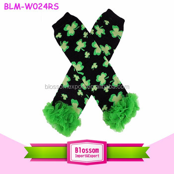 St.Patrick's Day Baby Girls Winter Leg Warmer Knitting Leg Warmers For Kids girls Knit Leg Warmers wholesale