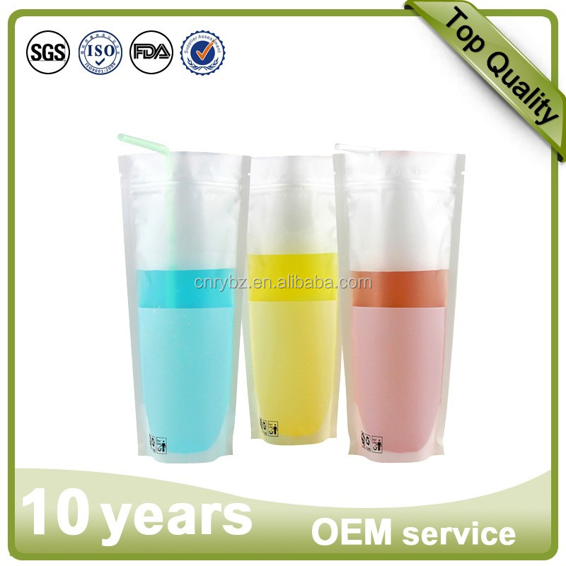Customized plastic juice beverage drink packaging storage bag liquid packaging stand up transparent clear plastic packaging bag