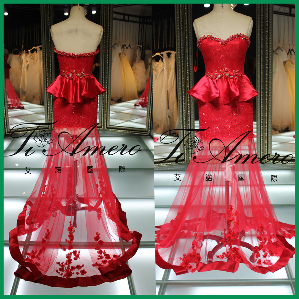 1A083J 2015 China newest designs hup classy evening dress red evening dress for wedding